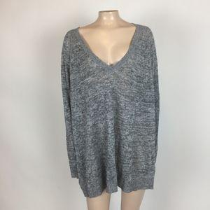 Eileen Fisher V neck Linen Sweater XL Knit HH6